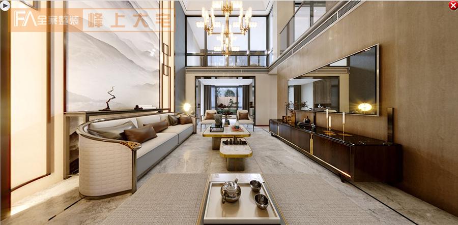 保利香槟国际-390平米复试-新中式风格效果图-南京峰上大宅